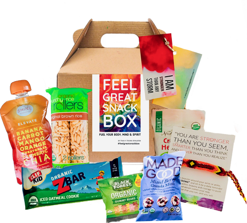 healthy snacks boxes for delivery, apple sauce, granola bars, gummy bears,  energy drinks, popcorn
