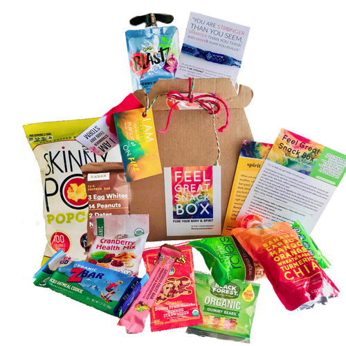 healthy snack boxes, apple sauce, gummy bears, zbar, energy drinks, popcorn